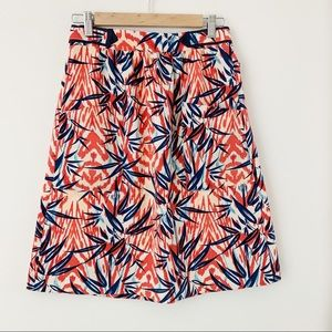 Zara Leaf Print A Line Skirt Elastic Waist